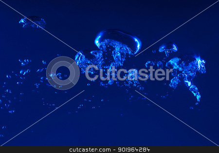 water splash stock photo, Clean blue water splash on dark blue background by Sergey Nivens