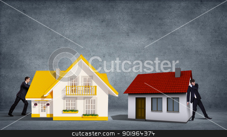 House From Puzzle stock photo, Business person with piece of puzzle ( jigsaw ) building a house by Sergey Nivens