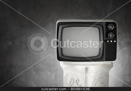 No Broadcast stock photo, Old portable television on a plaster column. by Stocksnapper