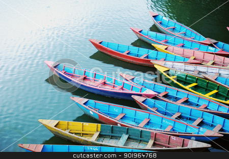 Colorful tour boats stock photo, Colorful tour boats at lakeside by John Young
