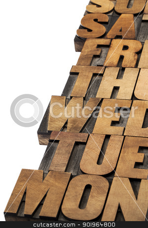 days of week abstract stock photo, days of week abstract - isolated text in vintage letterpress wood type printing blocks by Marek Uliasz