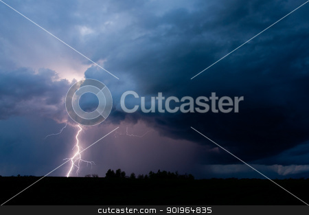 Lightning Strikes stock photo, Lightning strikes in a thunderstorm. by Joe Tabb
