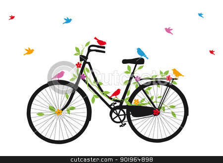 old bicycle with birds, vector  stock vector clipart, vintage bicycle with birds, leaves and flowers, vector illustration by Beata Kraus