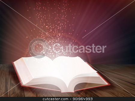 Open book stock vector clipart, Open book that emits bright light of knowledge by Alfio Roberto Silvestro