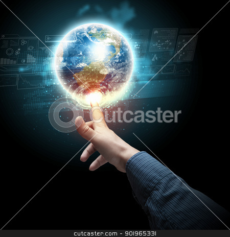 hand touching the earth stock photo, Human hand holding our planet earth glowing by Sergey Nivens