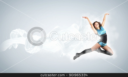 Young woman dancer. With lights effect. stock photo, Young woman dancer illustration. With lights effect. by Sergey Nivens