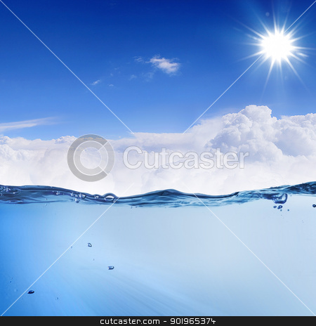 sundown seascape stock photo, design template with underwater part and sunset skylight splitted by waterline by Sergey Nivens