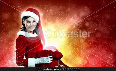 beautiful girl in santa costume stock photo, Christmas illlustration of beautiful girl in santa costume by Sergey Nivens