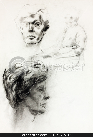 Woman portrait stock photo,  Original pastel  or drawing charcoal, and  hand drawn painting or  working  sketch of a woman.Free composition by borojoint