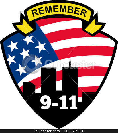 american flag stars and stripes and 9-11 World Trade Center  stock photo, illustration of a shield with american flag stars and stripes and 9-11 World Trade Center building silhouette with words Remember 9-11 by patrimonio