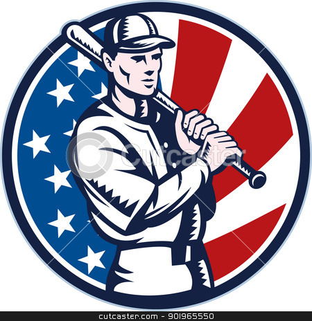 Baseball player holding bat with american stars and stripes flag stock photo, illustration of a Baseball player holding bat with american stars and stripes flag in background set inside circle done in retro woodcut style. by patrimonio