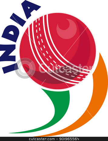 cricket ball flying out with words India stock photo, illustration of a cricket ball flying out with words