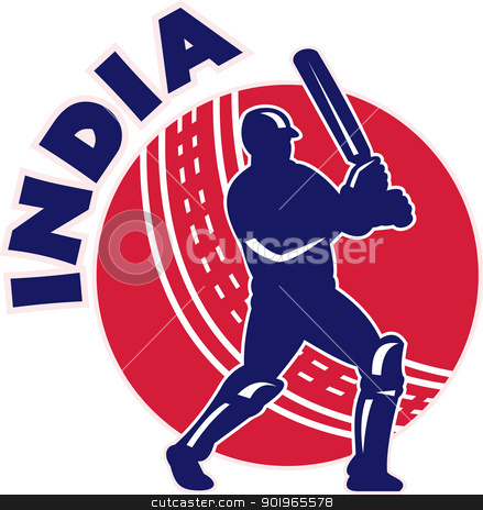 cricket batsman silhouette batting front view with ball with words India stock photo, illustration of a cricket batsman silhouette batting front view with ball in background done in retro style with words