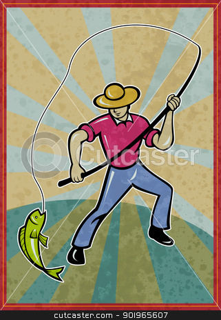 fisherman fishing catching fish with rod  stock photo, poster illustration of a fisherman fishing catching fish with rod with sunburst in background by patrimonio