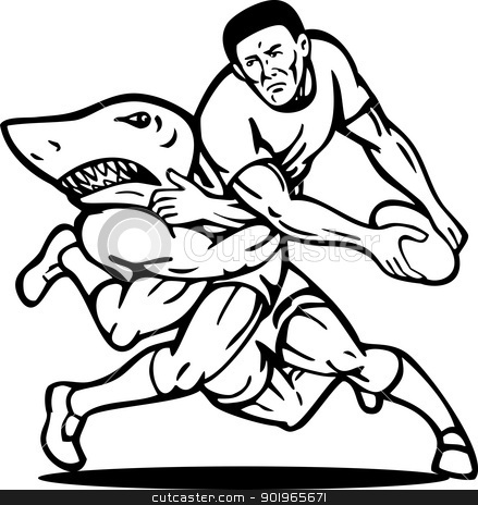 Rugby player about to pass the ball  stock photo, illustration of a Rugby player about to pass the ball tackled attacked by shark done in black and white. by patrimonio