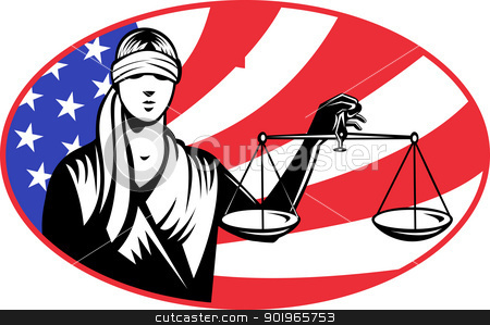 Lady of Justice stock photo, illustration of a lady with blindfolds holding scales of justice with american stars and stripes flag in background set inside ellipse. by patrimonio