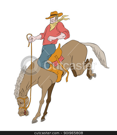 rodeo cowboy riding bucking horse bronco stock photo, illustration of rodeo cowboy riding bucking horse bronco on isolated white background cartoon style by patrimonio