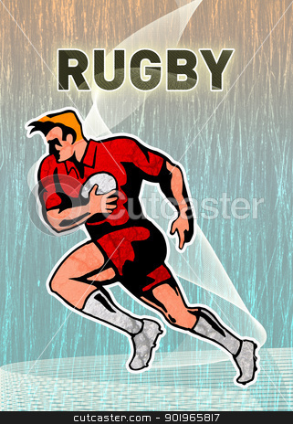 rugby player running with the ball  stock photo, illustration of a rugby player running with the ball on isolated background viewed from side by patrimonio
