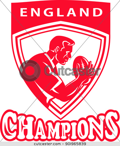 rugby player with ball set inside shield  stock photo, illustration of a rugby player with ball set inside shield done in retro style with words England Champions    by patrimonio