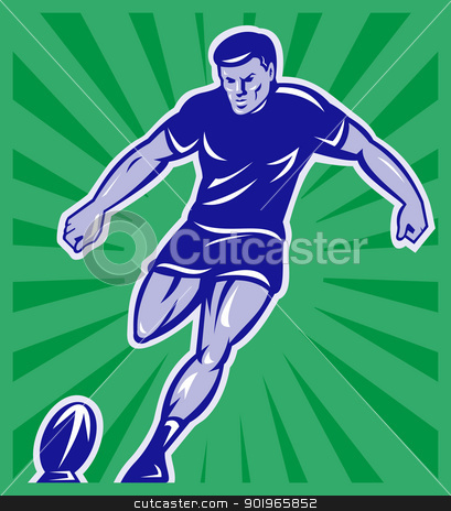 rugby player kicking ball  stock photo, illustration of a rugby player kicking ball front view with sunburst in background done in retro style by patrimonio