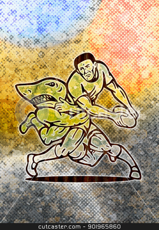 Rugby player running with ball attacked by shark stock photo, illustration of  a Rugby player running with ball attacked by shark with grunge  texture background by patrimonio