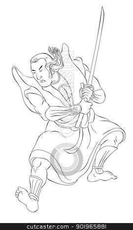Samurai warrior with katana sword fighting stance stock photo, illustration of a Samurai warrior with katana sword in fighting stance done in cartoon style black and white on isolated background by patrimonio