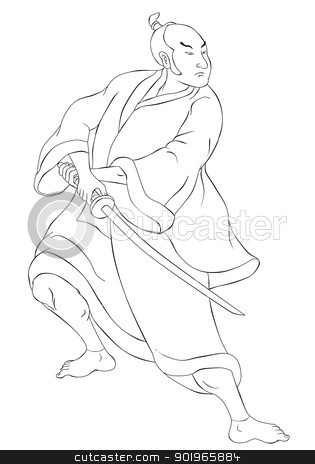 Samurai warrior with katana sword fighting stance stock photo, illustration of a Samurai warrior with katana sword in fighting stance done in cartoon style black and white on isolated background by patrimonio