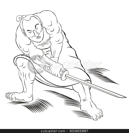 Samurai warrior with katana sword fighting stance stock photo,  illustration of a Samurai warrior with katana sword in fighting stance done in cartoon style by patrimonio