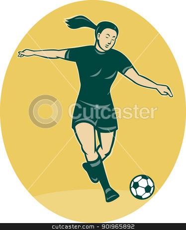woman girl playing soccer kicking the ball stock photo, illustration of a woman girl playing soccer kicking the ball cartoon style by patrimonio