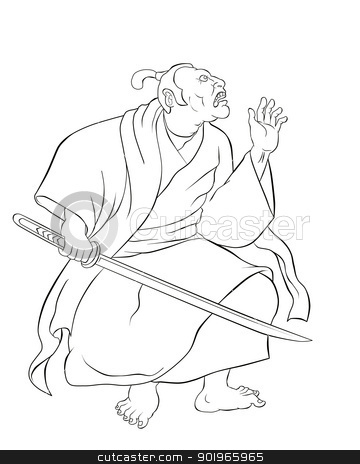 Samurai warrior with katana sword fighting stance stock photo,  illustration of a Samurai warrior with katana sword in fighting stance done in cartoon style done in black and white by patrimonio