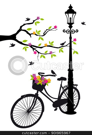 bicycle with lamp, flowers and tree, vector  stock vector clipart, old bicycle with lamp, flowers and tree, vector background illustration by Beata Kraus