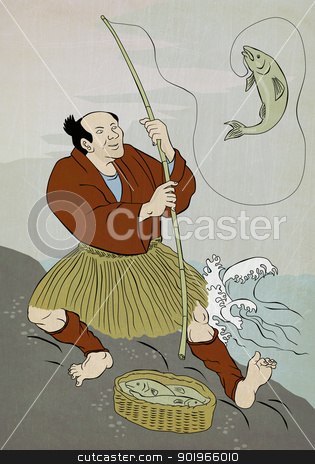 Japanese fisherman fishing catching trout fish stock photo, Image shows a Japanese fisherman fishing catching trout fish on a rock on lake done in the style of Japanese wood block print. by patrimonio