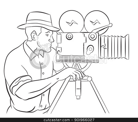 Cameraman vintage movie film camera shooting  stock photo, illustration of a Cameraman with vintage camera shooting side view done in the style of cartoon style isolated on white by patrimonio