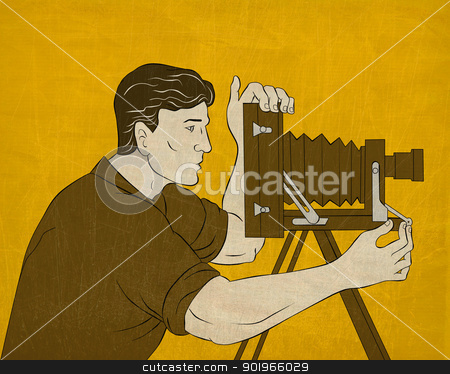Cameraman vintage movie film camera shooting  stock photo, illustration of a Cameraman with vintage camera shooting side view done in the style of cartoon style done in the style of Japanese wood block print by patrimonio