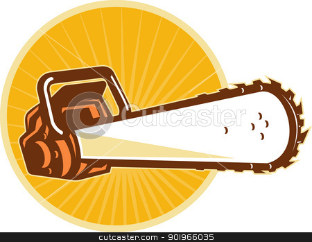 chain saw front  stock photo, vector illustration of a chain saw viewed from the front at low angle with sunburst and circle in the background by patrimonio