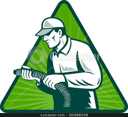 tradesman home insulation technician with hose stock photo, illustration of a tradesman home insulation technician holding a hose viewed from side set inside triangle with sunburst in background by patrimonio
