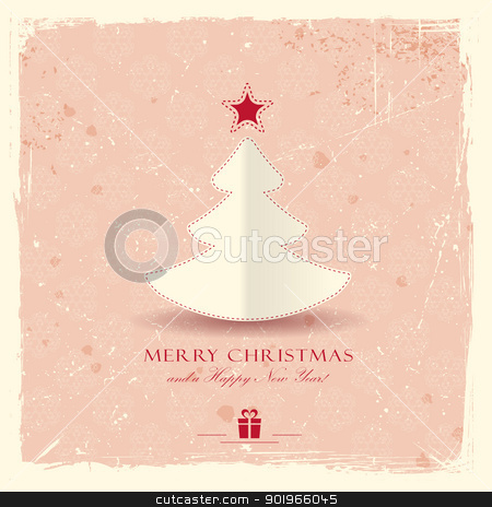 Grunge background with Christmas tree stock vector clipart, Simple paper Christmas tree with star on pale red distressed background with a filigree seamless snowflake pattern.  by Ina Wendrock
