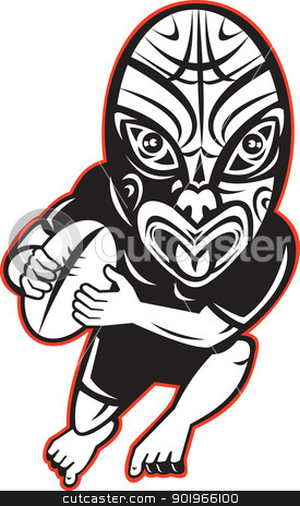 Rugby player running wearing Maori mask stock photo, cartoon illustration of a Rugby player running wearing Maori mask wearing black on isolated white background by patrimonio