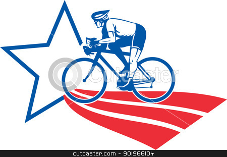Cyclist riding racing bike star and stripes stock photo, illustration of a Cyclist riding racing bike set inside oval viewed from side done in with star and stripes by patrimonio