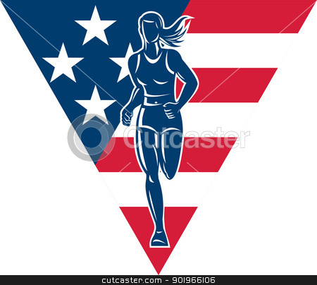 American Marathon runner stars stripes stock photo, illustration of a illustration of a female Marathon road runner jogger fitness training road running with American flag stars and stripes in background inside triangle by patrimonio