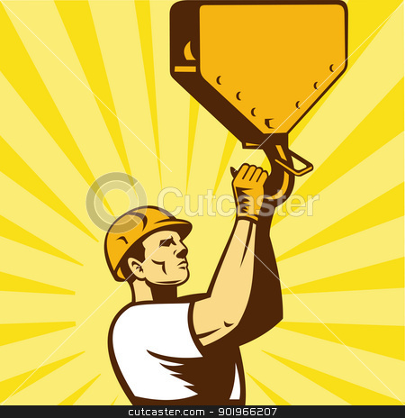 construction worker hook retro style stock photo, illustration of a construction worker wearing hard hat holding hook facing side set inside square with sunburst on isolated background done in retro style    by patrimonio