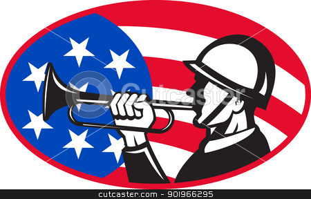 American soldier with bugle and flag stock photo, illustration of an American soldier with bugle and stars and stripes flag set inside ellipse done in retro style.  by patrimonio