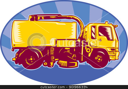 street cleaner sweeper truck side view retro stock photo, illustration of a street cleaner sweeper truck viewed side view done in retro style set inside an ellipse with sunburst.  by patrimonio