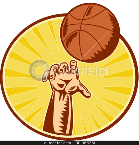 Basketball Player Hand Catching Throwing Ball stock photo, illustration of a hand catching ,throwing and rebounding basketball ball done in retro woodcut style set inside circle with sunburst in background.  by patrimonio