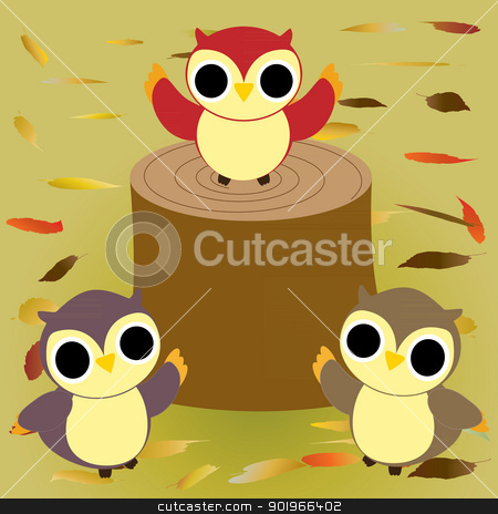 Autumn Owls 2 stock vector clipart, vector illustration of owls at Autumn by William Robson