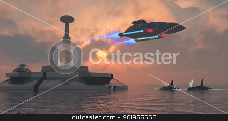 Aquarius Major stock photo, Earth has a colony on this water planet which is one of one of the moons of the gas giant in the sky. by Corey Ford