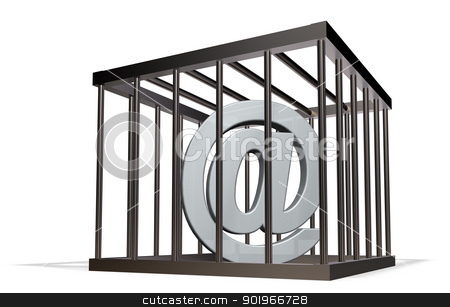forbidden communication stock photo, email alias in a cage on white background - 3d illustration by J?