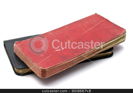 Red and black notebooks  stock photo, Red and black notebooks closeup on white by Sasas Design