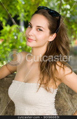 Cool young brunette. stock photo, Half length portrait of a beautiful cool young brunette. by exvivo