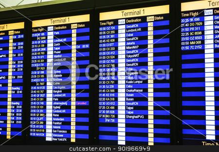Departure Board stock photo, Hong kong airport, departure board  by Ingvar Bjork